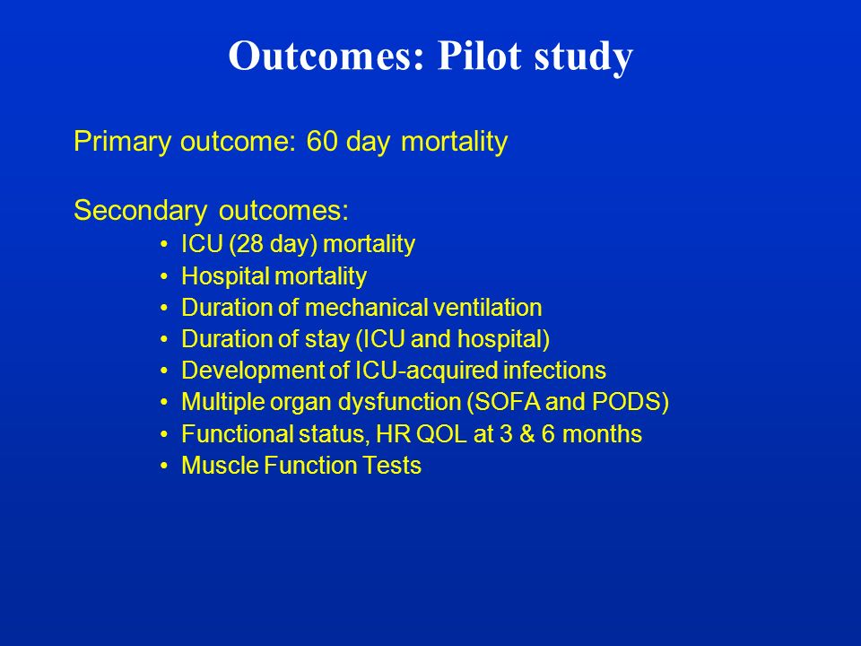 Outcomes: Pilot study Primary outcome: 60 day mortality