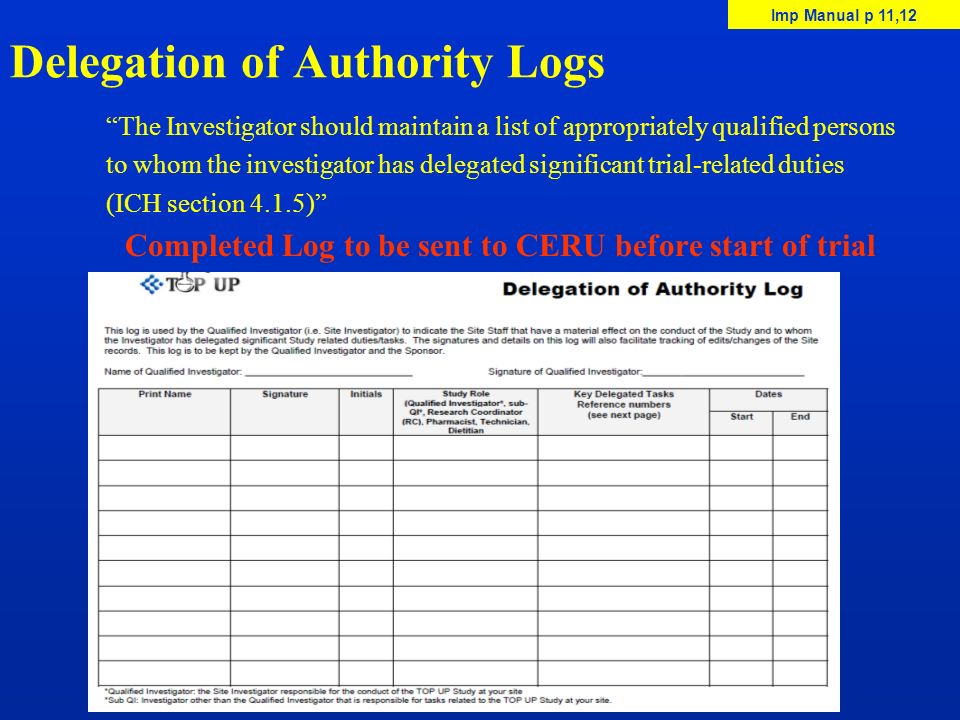 Delegation of Authority Logs