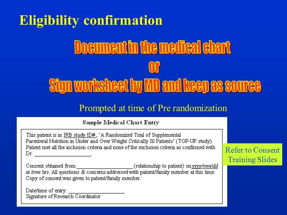 Eligibility confirmation