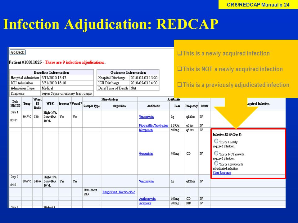 Infection Adjudication: REDCAP