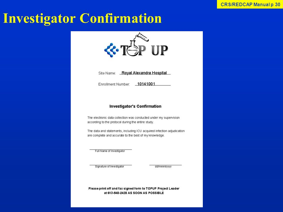 Investigator Confirmation