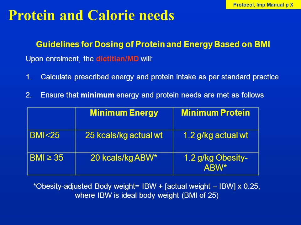 Protein and Calorie needs