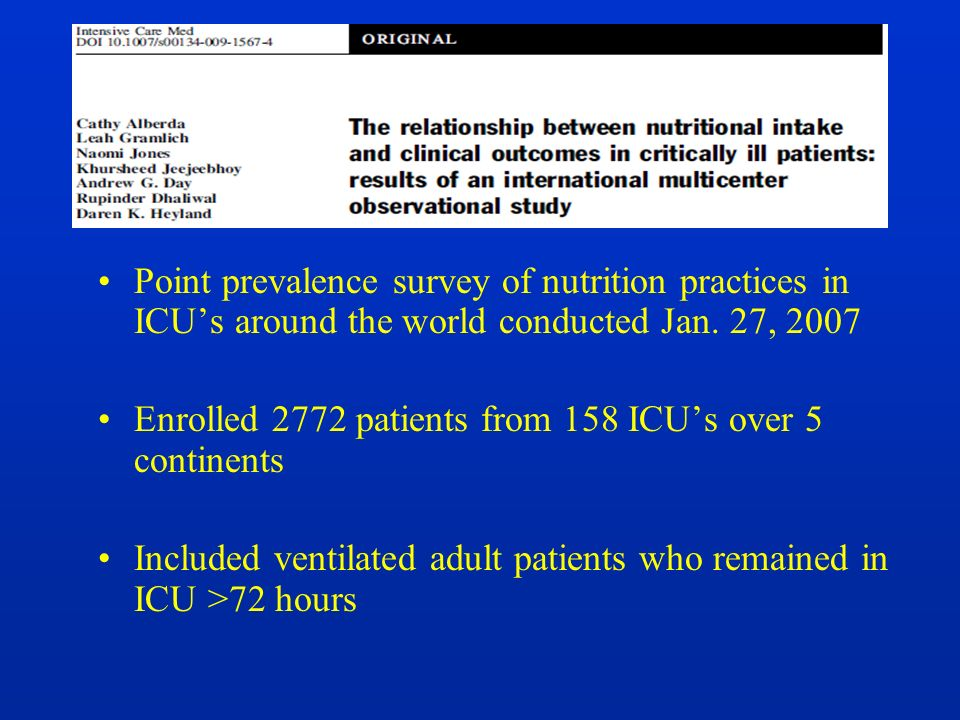 Point prevalence survey of nutrition practices in ICU's around the world conducted Jan. 27, 2007