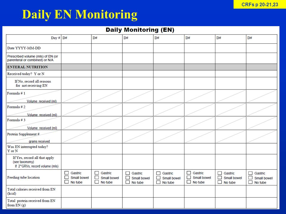 CRFs p 20-21,23 Daily EN Monitoring