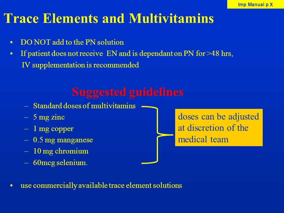 Trace Elements and Multivitamins