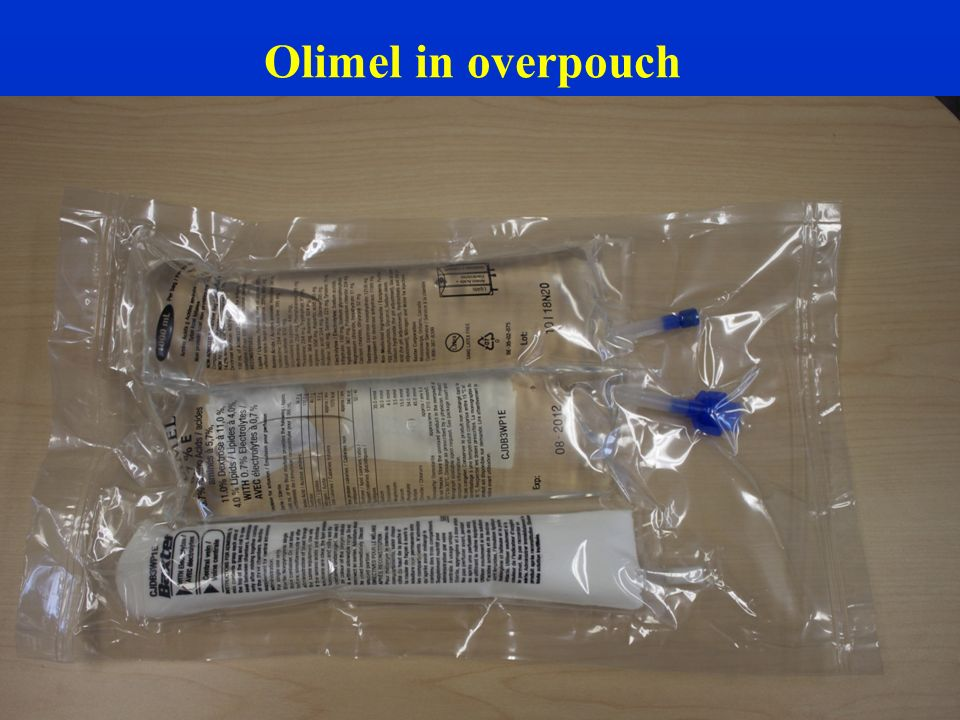 Olimel in overpouch To open the Olimel, remove the protective overpouch.