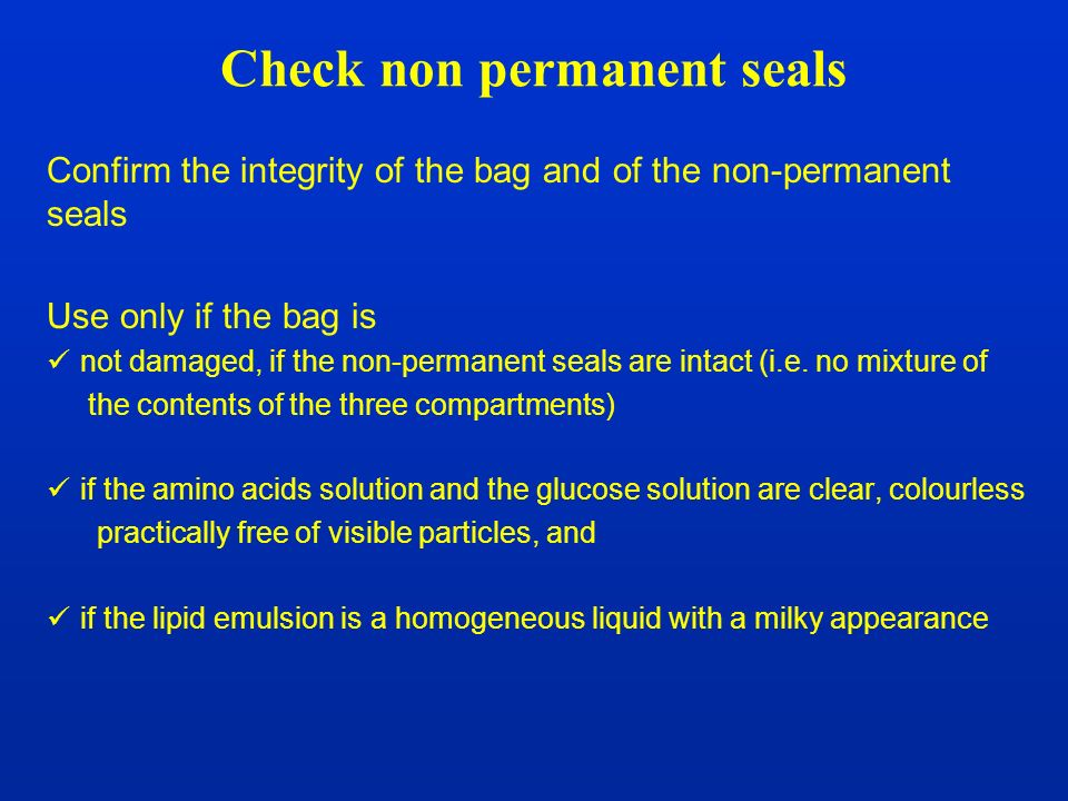 Check non permanent seals