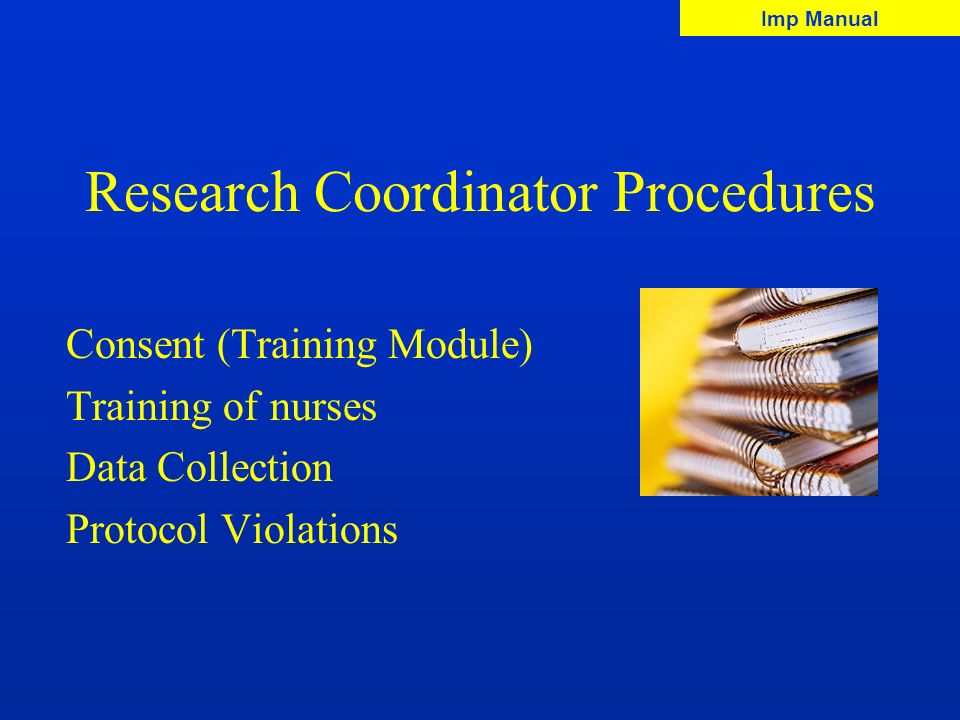 Research Coordinator Procedures