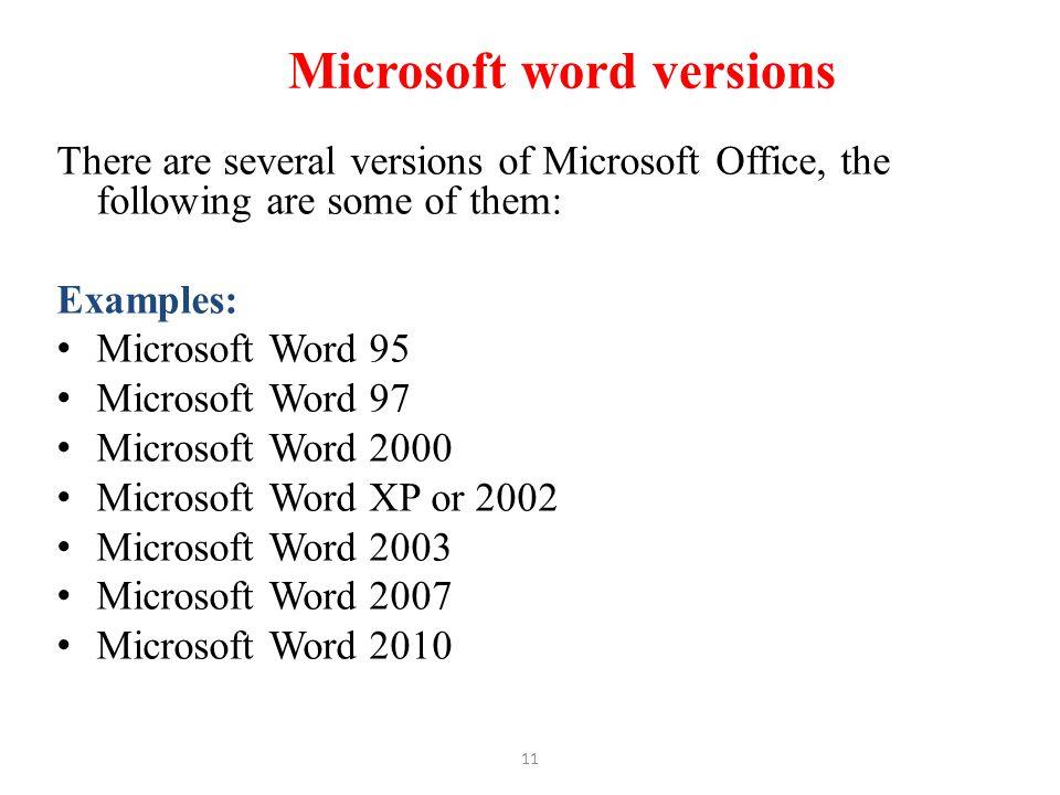 Microsoft word versions