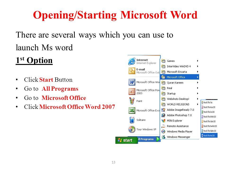 Opening/Starting Microsoft Word