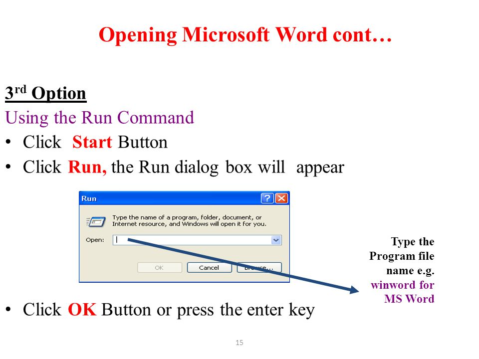 Opening Microsoft Word cont…