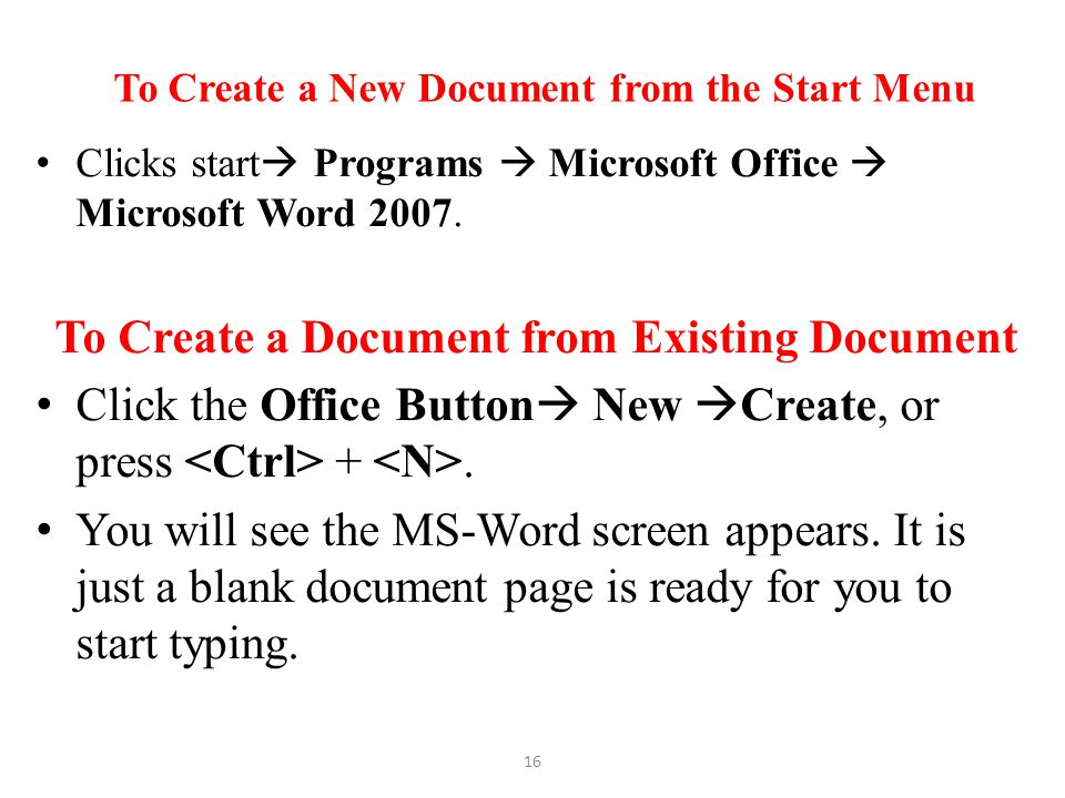 To Create a New Document from the Start Menu