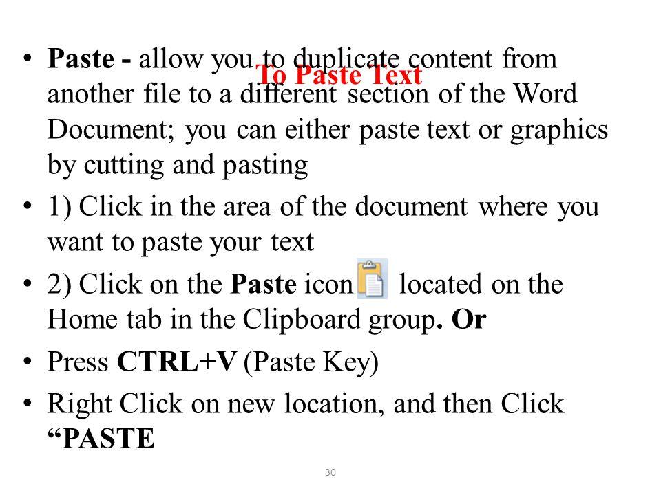 To Paste Text