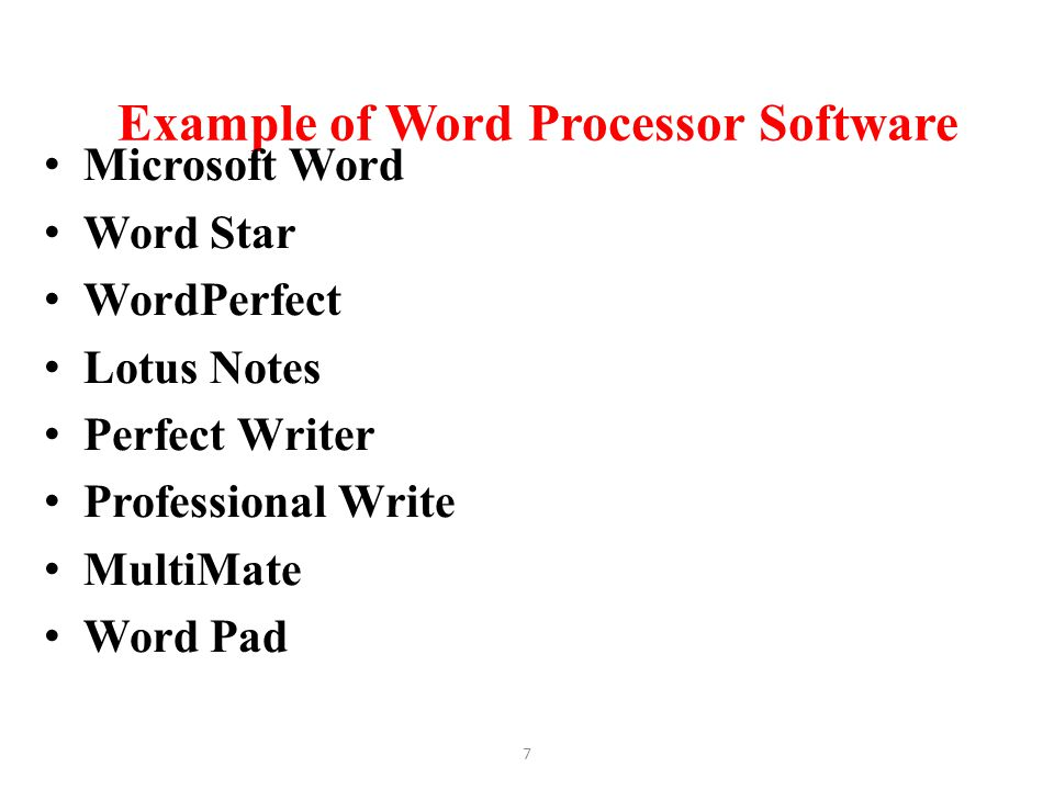 Example of Word Processor Software