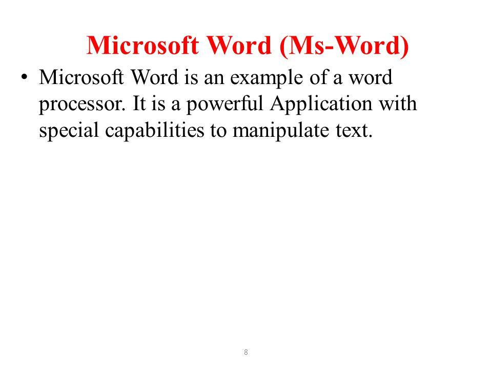 Microsoft Word (Ms-Word)