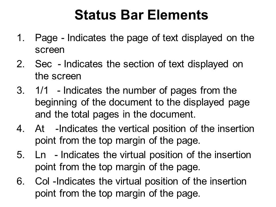 Status Bar Elements Page - Indicates the page of text displayed on the screen. Sec - Indicates the section of text displayed on the screen.