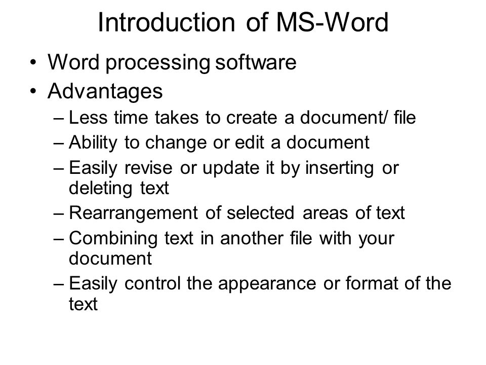 Introduction of MS-Word