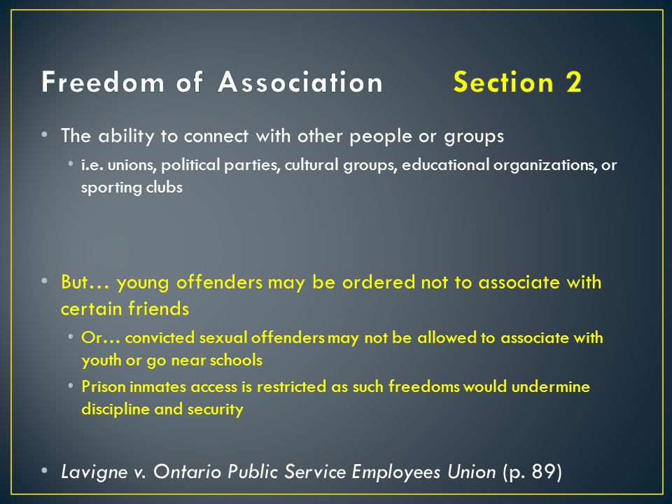 Freedom of Association Section 2
