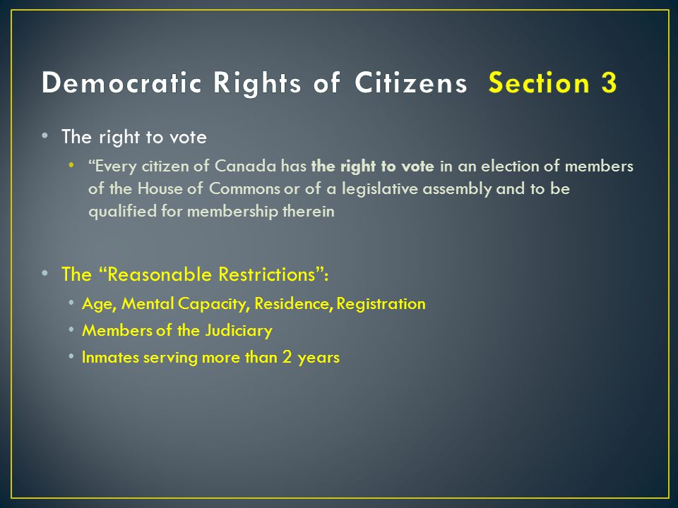 Democratic Rights of Citizens Section 3