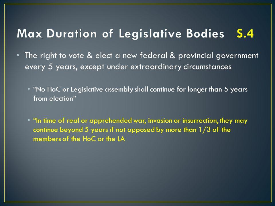 Max Duration of Legislative Bodies S.4