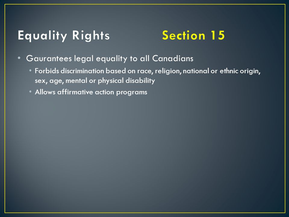 Equality Rights Section 15