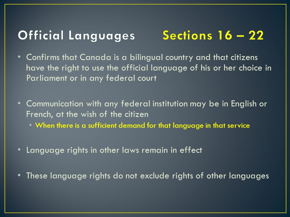 Official Languages Sections 16 – 22
