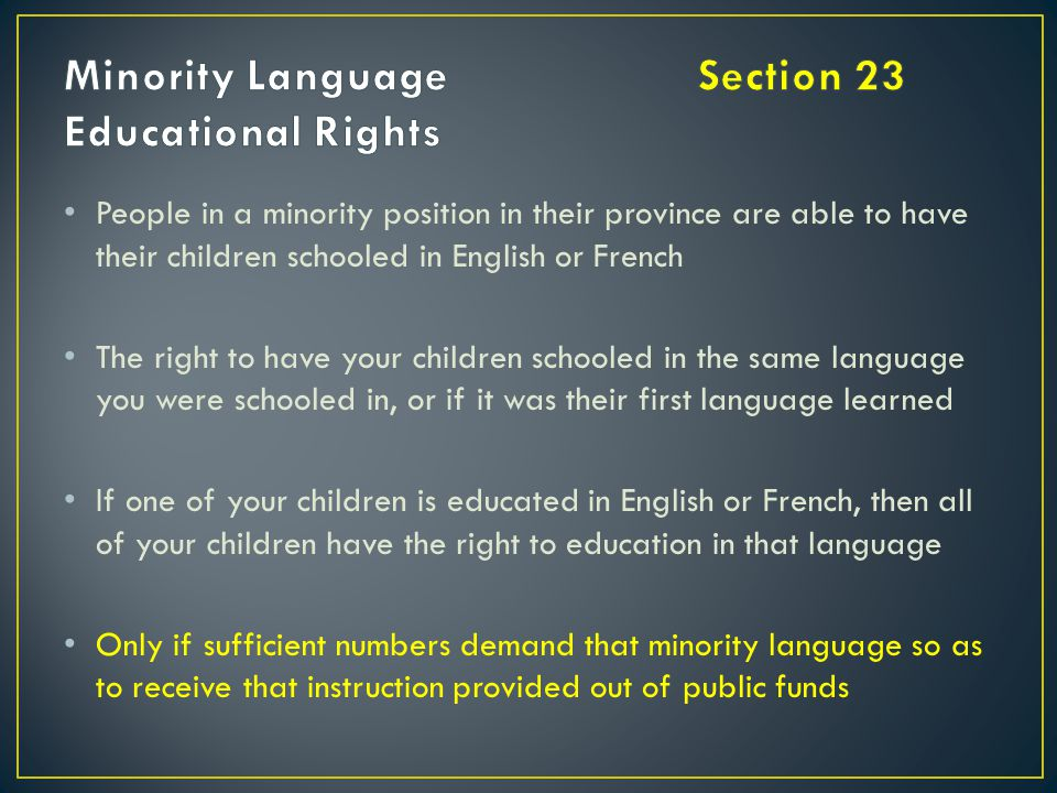 Minority Language Section 23 Educational Rights
