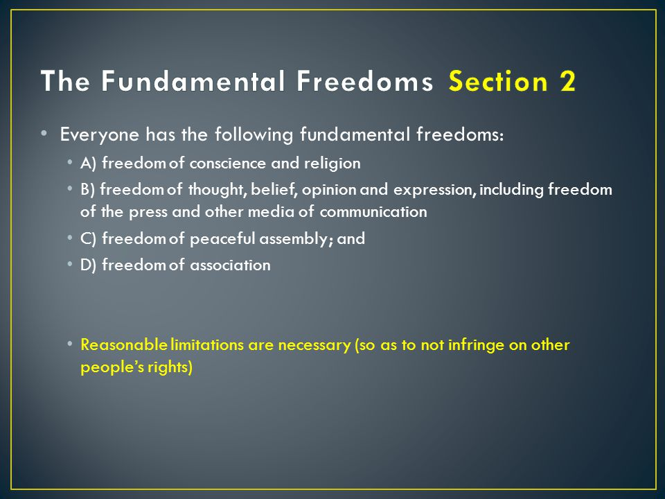 The Fundamental Freedoms Section 2