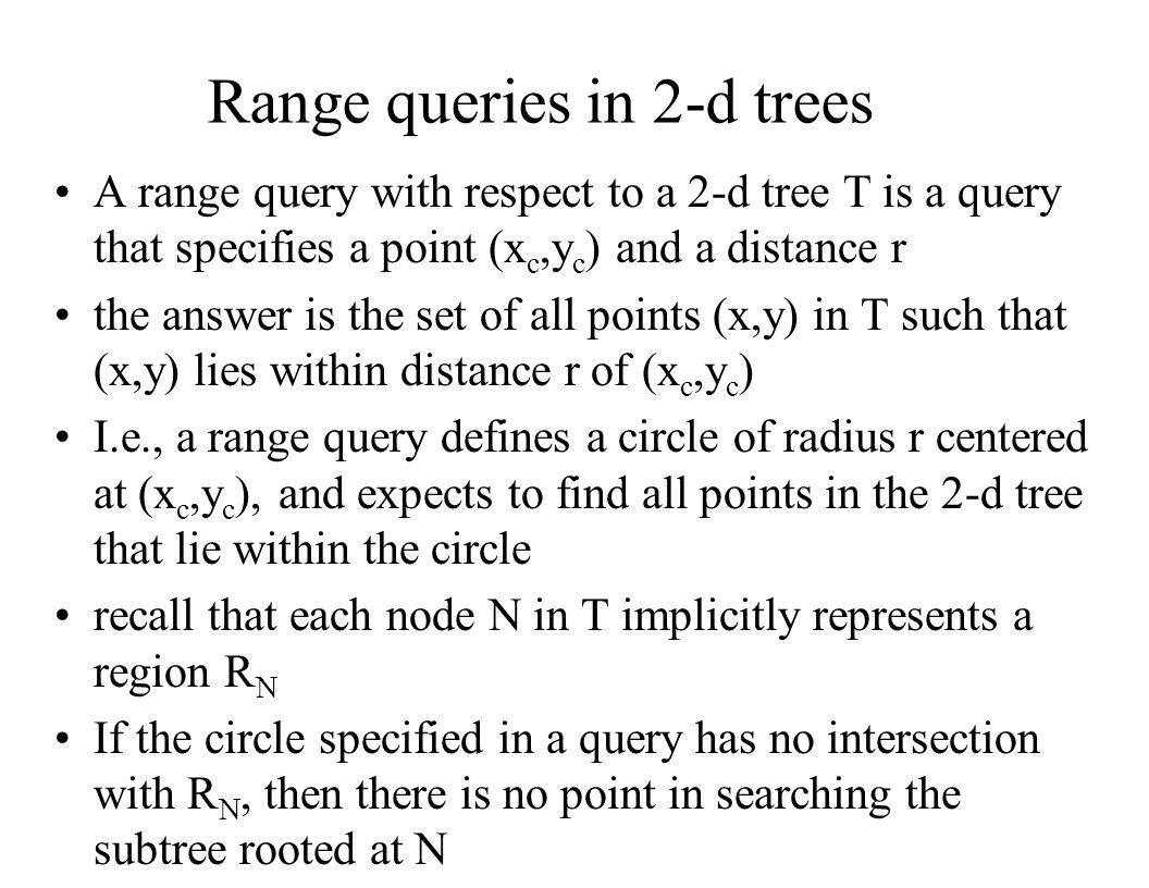 Range queries in 2-d trees