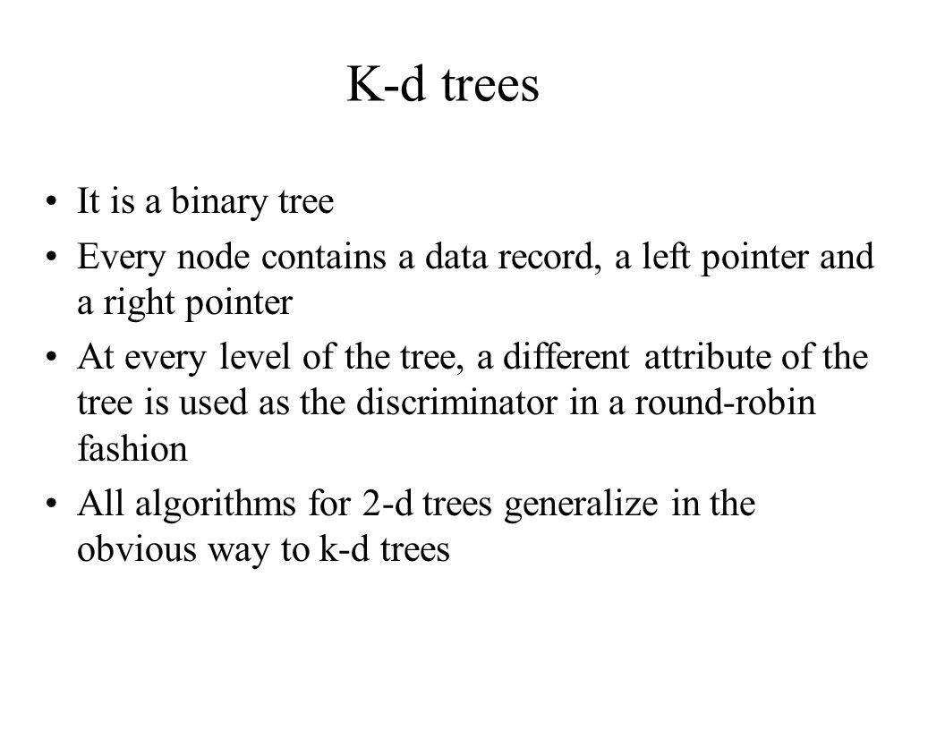 K-d trees It is a binary tree