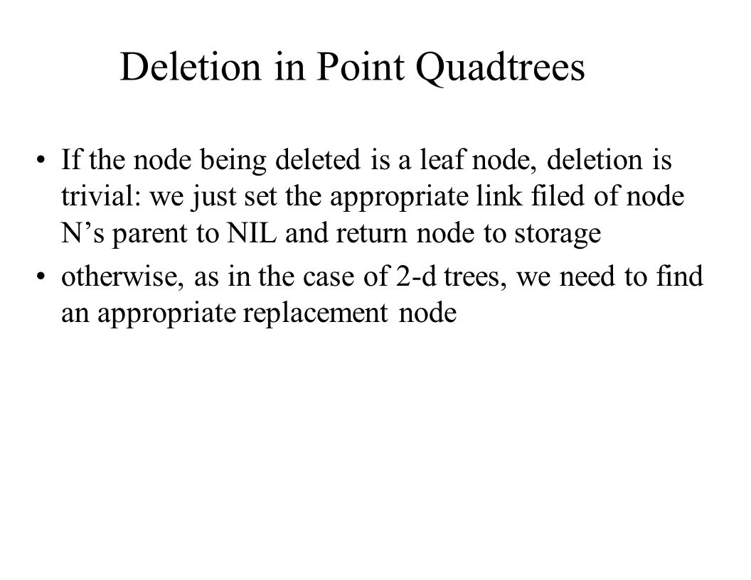 Deletion in Point Quadtrees