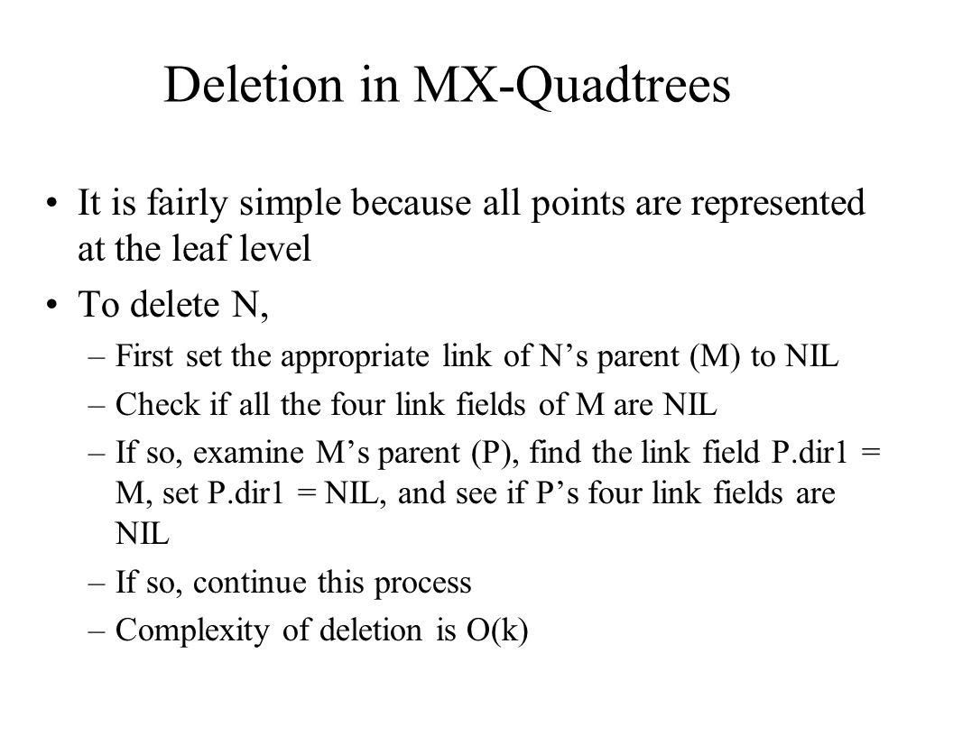 Deletion in MX-Quadtrees