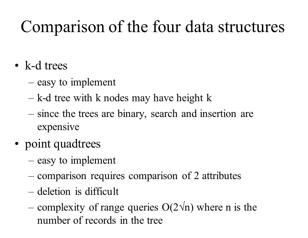 Comparison of the four data structures