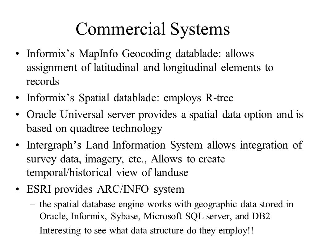 Commercial Systems Informix's MapInfo Geocoding datablade: allows assignment of latitudinal and longitudinal elements to records.
