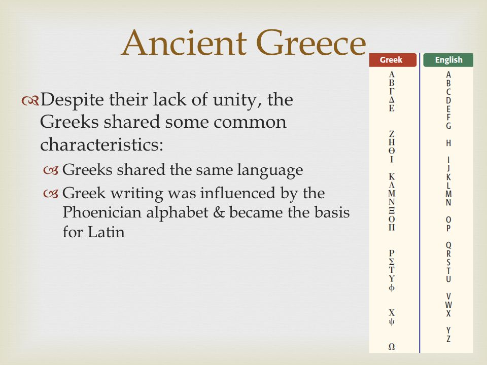 Ancient Greece Despite their lack of unity, the Greeks shared some common characteristics: Greeks shared the same language.
