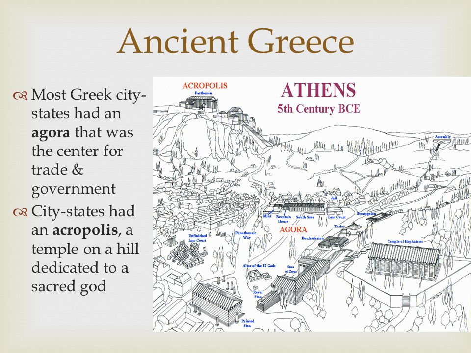 Ancient Greece Most Greek city-states had an agora that was the center for trade & government.