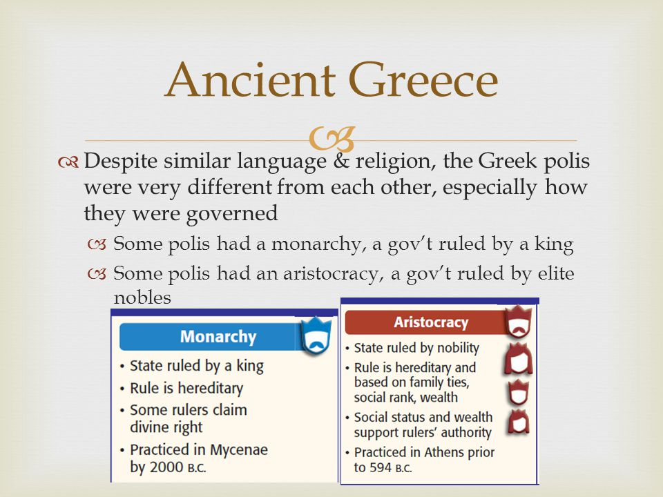 Ancient Greece Despite similar language & religion, the Greek polis were very different from each other, especially how they were governed.