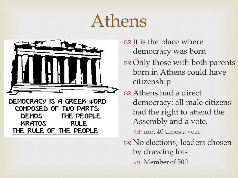 Athens It is the place where democracy was born