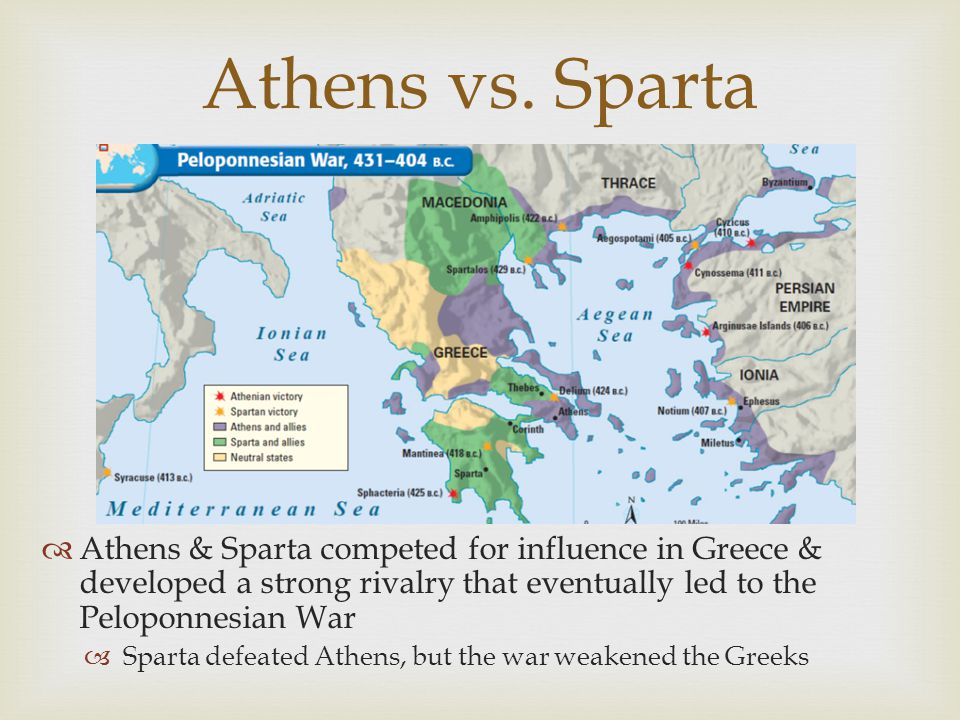 Athens vs. Sparta Athens & Sparta competed for influence in Greece & developed a strong rivalry that eventually led to the Peloponnesian War.