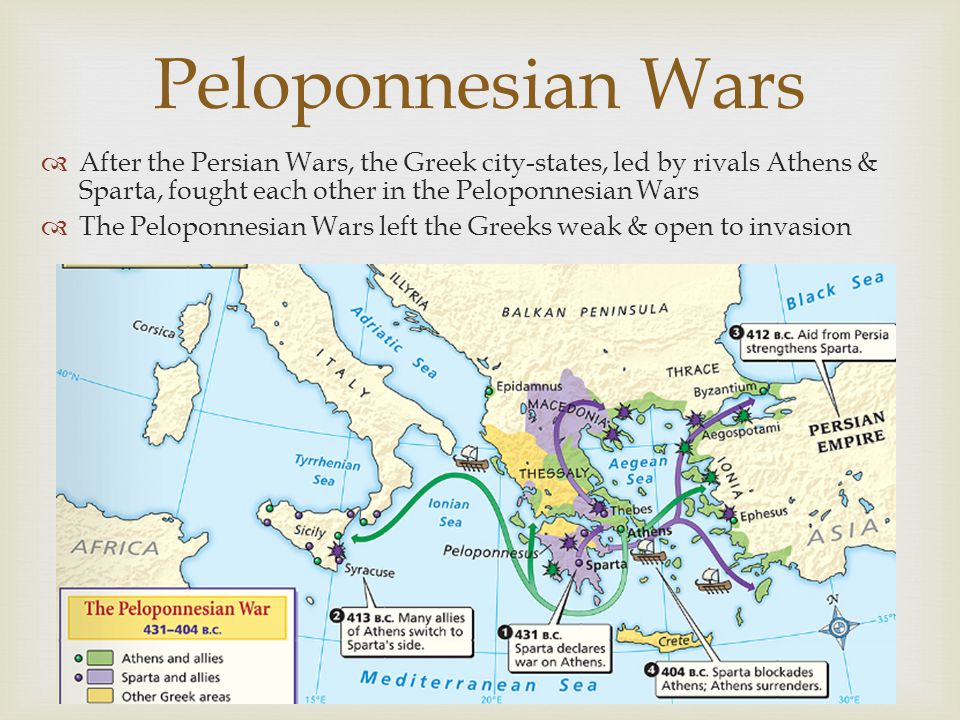Peloponnesian Wars After the Persian Wars, the Greek city-states, led by rivals Athens & Sparta, fought each other in the Peloponnesian Wars.