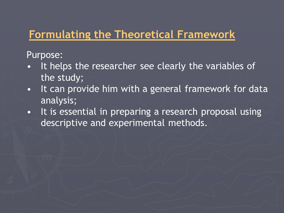 Formulating the Theoretical Framework