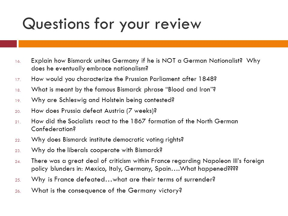 Questions for your review