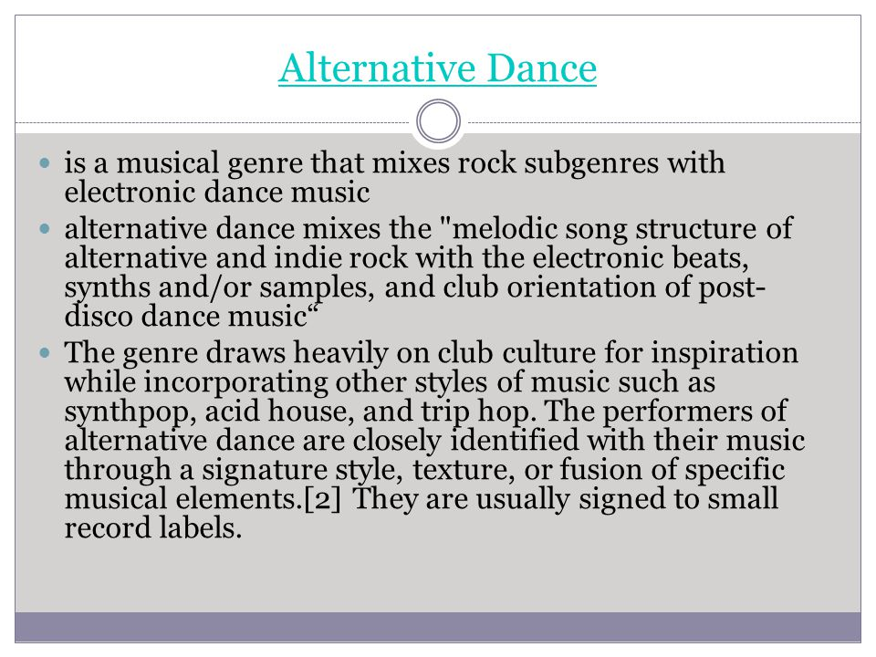 Alternative Dance is a musical genre that mixes rock subgenres with electronic dance music.