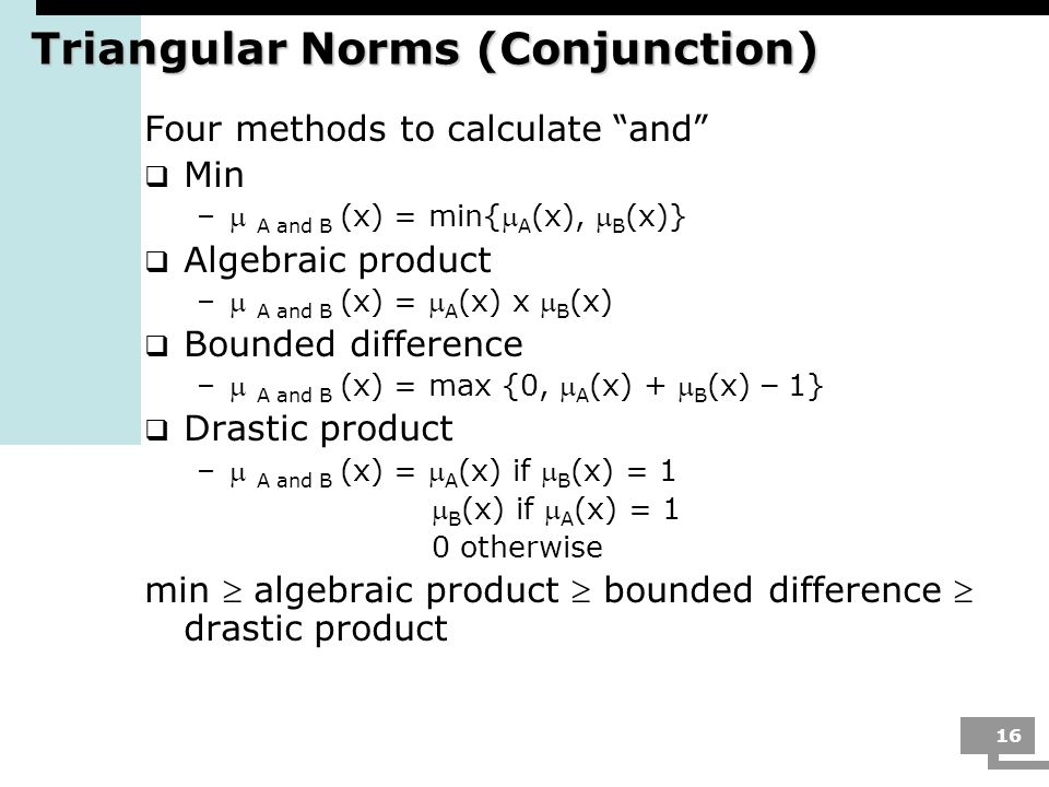 Triangular Norms (Conjunction)