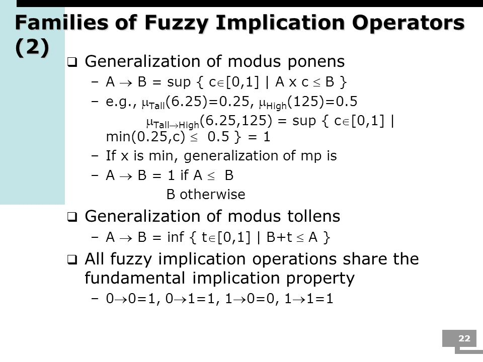 Families of Fuzzy Implication Operators (2)
