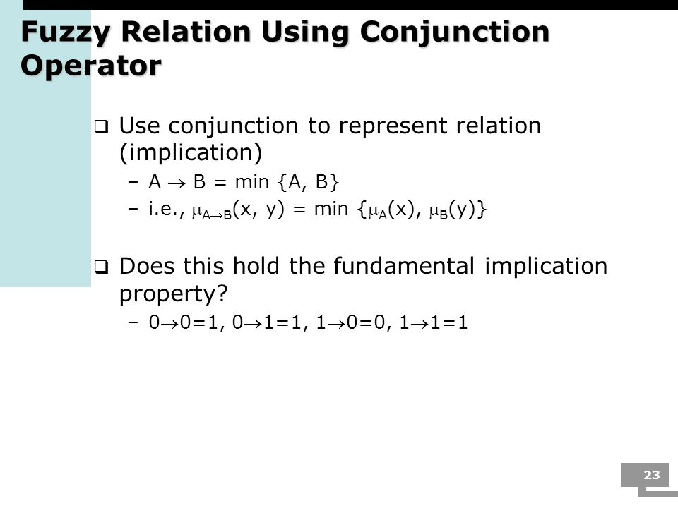 Fuzzy Relation Using Conjunction Operator