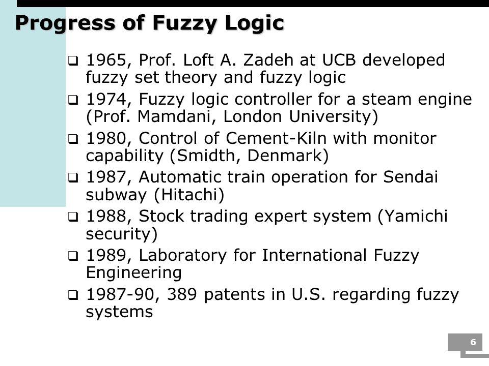 Progress of Fuzzy Logic