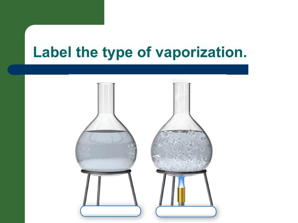 Label the type of vaporization.