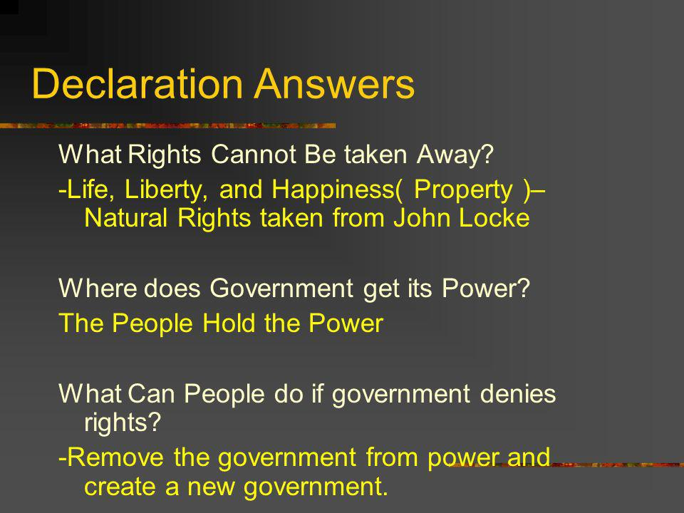 Declaration Answers What Rights Cannot Be taken Away