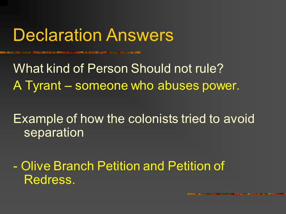 Declaration Answers What kind of Person Should not rule